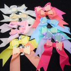 "6"" Pastel Color Gator Clip Tail Style Bows w / Glitter Bow Center .54 ea"