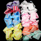 "5.5"" Pastel Eater Color Layered Gator Clip  Bows w / Metallic Stripes  .54 ea"