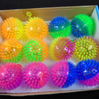 "2.5"" Light Up Flashing Two Tone Transparent Color Spiky Balls 12 per display .58 each"
