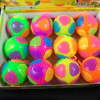 "2.5"" Light Up Flashing Multi Color Spiky Balls 12 per display .58 each"