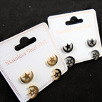 2 Pair Stainless Steel Moon/Star Earrings Gold/Silver .54 per set