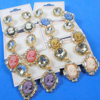 Vintage Cameo Theme Earring w/ Cry. Stones Asst Colors .54 per pair