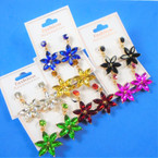 6 Point  Acrylic Stone Flower Earrings  Asst Colors .54 per pair
