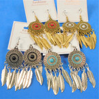 "2.5"" Gold & Silver Dream Catcher Theme Metal Earrings  .56 per pair"
