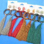 """5"""" Tassel Fashion Earring w/ Flower Stone  Top mixed colors .56 per pair"""