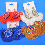 "3"" Fringe Fashion Earring w / Clip Stones  mixed colors .56 per pair"