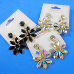 6 Point  Acrylic Stone Flower Earrings  3 Colors per dz  .54 per pair