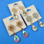 "1.5"" Crystal Stone Drop  Fashion Earrings  3 Colors per dz  .56 per pair"