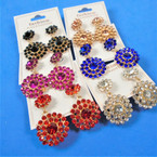 "1.5"" 2 Part Round  Crystal Stone   Fashion Earrings  Asst  Colors per dz  .54 per pair"