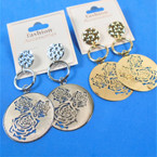 "2.5"" Gold  & Silver Laser Cut Rose Fashion Earrings   .54 per pair"