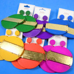 "2.5"" Round Bright Color & Gold Wood Fashion Earrings   .54 per pair"