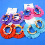 "3"" Fringe Fashion Earring w / Striped Center Ring  mixed colors .56 per pair"