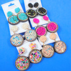 "2.5"" Round 2 Part Tube Bead  Fashion Earrings   .54 per pair"