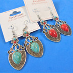 "1.5"" Silver & Turquoise Bead Southwest Look Fashion  Earrings .54 per pair"