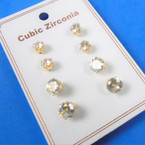 4 Pair Gold  Prong Set Cubic Stud Earrings 12 sets per pk .60 ea set