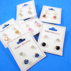 2 Pair Gold  Prong Set Cubic Stud Earrings Clear & Colored 12 sets per pk .54 ea set