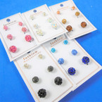 3 Pair Cry. Stone Fire Ball Earrings Asst Colors .54 per set