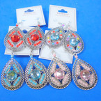 Oval Silver Stone & Mini Bead Fashion Earrings Asst Colors .56 per pair