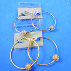 "2"" Hypoallergenic Gold & Silver Hoop Earrings  w/ Cry. Stone Fireball .54 per pair"