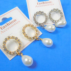 "Elegant 1.5"" Rhinestone Earrings w/ Pearl Drop Gold & Silver .54 per pair"