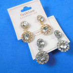 "Elegant 1.5""  Earrings w/ Round Crystals  Gold & Silver .54 per pair"