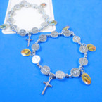 Silver Cross Charm Bracelet w/ San Benito Charms & Picture .54 each