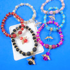 Crystal Beaded & Pearl  Bracelet w/  Angel Charm & Fireball Beads Mix Colors .60 each