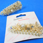 "3"" Pearl Hair Clip w/Gold Nautical Theme Charms  .54 each"