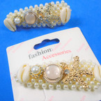 "3"" Pearl Hair Clip w/Gold Starfish & Cowrie Shell Charms  .54 each"