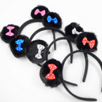 Black Faux Fur Mouse Ear Headbands w/ Colored Mini Bow .56 each