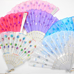 "9"" White Handle Sequin Sunburst Hand Fans asst pastel colors .56 each"