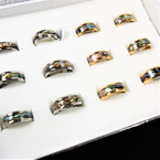 Stainless Steel Gold & Silver Band Rings w/ Abalone Shell Look Center 12 per bx .65 ea