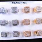 Gold & Silver Men's Rings w/ Mini Crystal Stones  Mixed Size 12 per bx .58 each