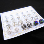 VALUE PK 12 Pr Earring Silver Prong Clear Cry. Stone & Fireball .54 per set