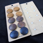 5 Pair Penny Size Wood Round  Earrings natural colors .54 per set