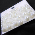 10MM 12 Pair  Pearl Stud Earrings White .54 per set