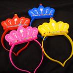 "5"" Flashing Crown Theme Headbands  4 colors 12 per pk .65 each"