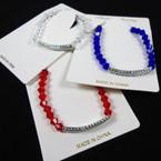 Crystal Stone Bracelet w/ DBL Row Mini Cry. Stone Bar 12 per pk .56 each