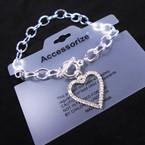 Silver Toggle Link Bracelets w/ Crystal Stone Open Heart Charm  .56 each