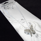 Silver Chain Neck Set w/ Crystal Stone Butterfly Pendant .56 ea set