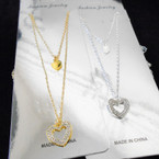 Gold & Silver 2 Strand Chain Necklace w/ Crystal Stone Heart  Pendant .54 each