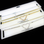 Gold & Silver Rhinestone Chain Heart Choker Necklace .56 each