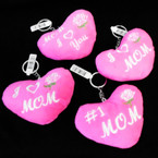 "4"" Plush Pink Heart Embroidered MOM  Theme  Keychain 12 per pk .62 each"