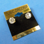 9MM Clear Stone Cubic Zirconia Gold Prong Earrings  .60 per pair