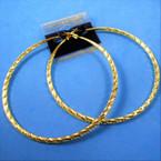 """3.5"""" Hypoallergenic Stainless Post Gold Textured Hoop Earrings   .54 per pair"""