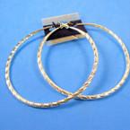 """3.5"""" Hypoallergenic Stainless Post Silver Textured Hoop Earrings   .54 per pair"""