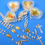 "36"" White Pearl  Rosary  in Keepstake Box  Matching Set .60 ea"