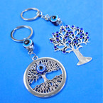 2 Style Cast Silver Tree of Life Blue Stone Keychains w/ Eye Beads .54 each