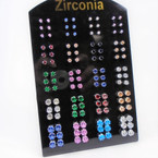 SPECIAL BUY 60 Pair Cubic Zirconia Earrings .20 each pair on display