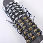 Teen Leather Bracelet w/ Gold/ Silver Cast Elephants   .54 ea